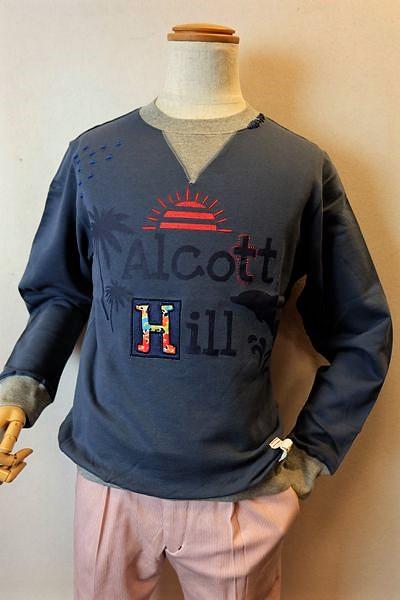 アルコットヒル Alcott hill 【トレーナー】【2019春夏新作】【メンズウェア】【トップス】【アンジェロ】【アルコットヒル服】 クルートレーナー ブルー