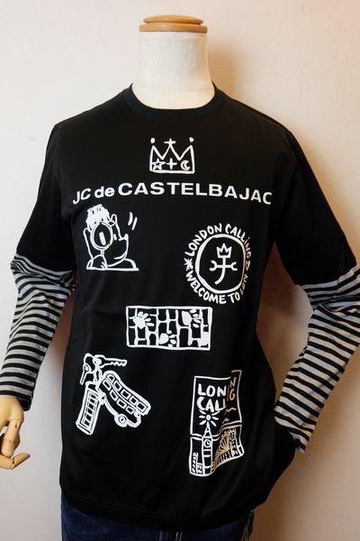 【セール35%OFF】 カステルバジャック CASTELBAJAC 【ロングTシャツ】【2019秋冬新作】【メンズウェア】【ゴルフ】【カットソー】【カステルバジャック服】 レイヤード風プリントロングTシャツ ブラック