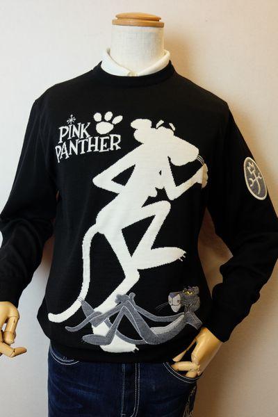 【セール35%OFF】 カステルバジャック CASTELBAJAC 【セーター】【2019秋冬新作】【メンズウェア】【ゴルフ】【ピンクパンサー】【カステルバジャック服】 ピンクパンサーセーター ブラック
