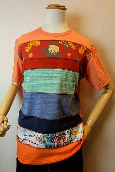 【セール35%OFF】 アルコットヒル Alcott hill 【半袖Tシャツ】【2019春夏新作】【メンズウェア】【カットソー】【アンジェロ】【 アルコットヒル服】 切り替え半袖Tシャツ オレンジ