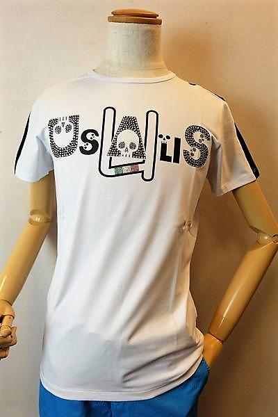 【セール35%OFF】 ウザリス USUALIS 【半袖Tシャツ】【2019春夏新作】【イタリア製】【スワロフスキー】【カットソー】【メンズウェア】 スカルロゴストレッチ半袖Tシャツ ホワイト