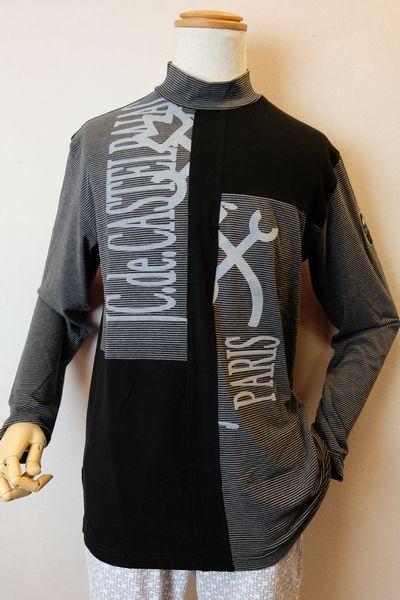 【セール35%OFF】 カステルバジャック 【ハイネック】【2019秋冬新作】【メンズウェア】【ゴルフ】【カステルバジャック 服】 フロッキー使いウォームハイネックシャツ ブラック CASTELBAJAC