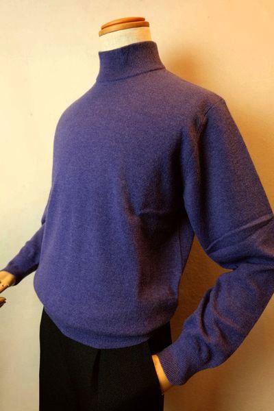 【セール35%OFF】 ジーゲラン 【日本製カシミヤセーター】【2019秋冬新作】【メンズウェア】【ハイネックセーター】【ニット】【ジーゲラン服】 カシミヤ100%ハイネックセーター パープル GEEGELLAN