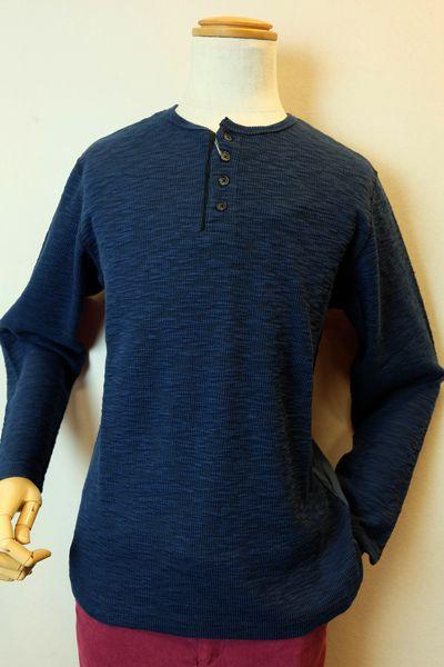 【セール30%OFF】 アルコットヒル【ロングTシャツ】【2019秋冬新作】【メンズウェア】【アンジェロ】【カットソー】【アルコットヒル服】 切り替えヘンリーネックロングTシャツ ブルー Alcott hill