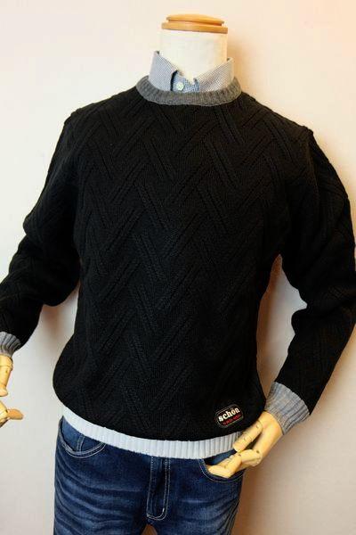 【セール30%OFF】 ショーン・バイ・ミラショーン 【セーター】【2019秋冬新作】【メンズウェア】【ニット】【ミラショーン服】 編み柄セーター ブラック mila schon