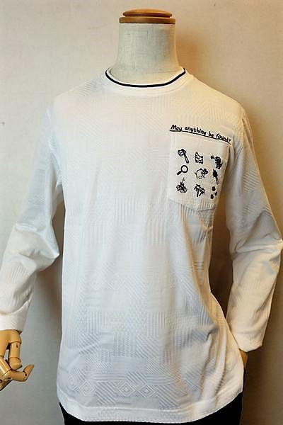 【セール50%OFF】 バジエ 【ロングTシャツ】【2020春夏新作】【メンズウェア】【カットソー】【バジエ服】 吸汗速乾ロングTシャツ ホワイト 3L VAGIIE