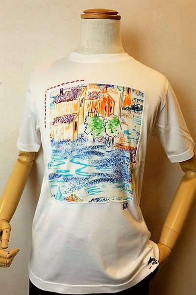 【セール30%OFF】 アルコットヒル 【半袖Tシャツ】【2020春夏新作】【メンズウェア】【フランス製生地】【カットソー】【アンジェロ】【 アルコットヒル服】 フランス製プリント地デザイン半袖Tシャツ ホワイト Alcott hill