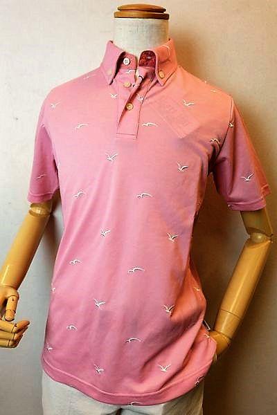【セール30%OFF】 アルコットヒル 【半袖ポロシャツ】【2020春夏新作】【メンズウェア】【カットソー】【アンジェロ】【 アルコットヒル服】 カモメ刺繍柄ボタンダウン半袖ポロシャツ ピンク Alcott hill