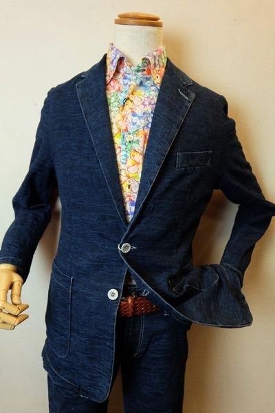 バラシ 【デニムジャケット】【2020春夏新作】【メンズウェア】【イタリア製生地】【バラシ服】 イタリア製デザイン織り柄地デニムジャケット ブルー barassi