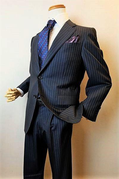 ロンナースーツ 送料無料 ショッピング 翌日着荷可 セール35%OFF ロンナー 高品質新品 テーラードスーツ 紺ストライプ メンズウェア AB4サイズ MAFスーパー120'Sスーツ LONNER ロンナー紳士服
