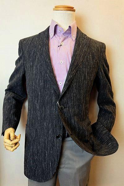 【セール35%OFF】 ロンナー 【テーラードジャケット】【春夏アウトレット現品限り品】【メンズウェア】【ロンナー紳士服】 ウール麻一枚仕立てジャケット ネイビー 46サイズ LONNER