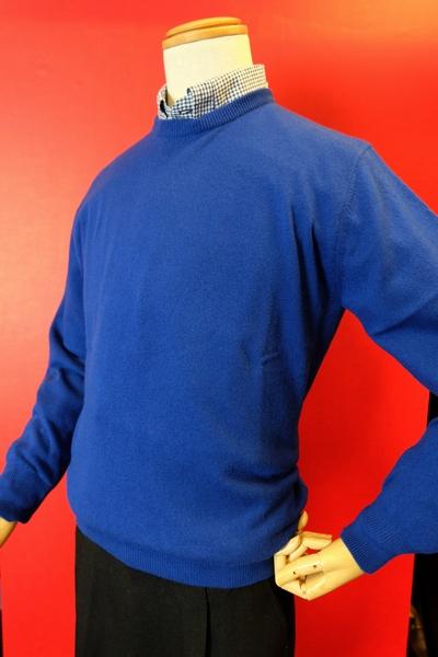 【ジーゲラン】【GEEGELLAN】【日本製カシミヤセーター】【秋冬アウトレットセール40%OFF】【メンズ】【カシミヤ】【ブランド】【メンズファッション】【ジーゲラン服】 カシミヤ100%クルーセーター ブルー