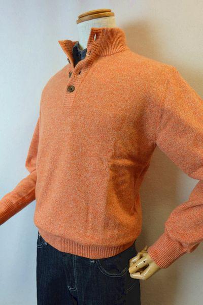 【セール40%OFF】 ジーゲラン GEEGELLAN 【日本製カシミヤセーター】【秋冬アウトレット現品限り品】【メンズウェア】【ジーゲラン服】 カシミヤ100%ハーフ釦セーター オレンジ