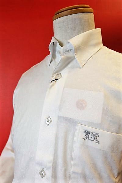 【セール50%OFF】【バラシ】【barassi】【カジュアルシャツ】【秋冬アウトレット現品限り品】【メンズウェア】【バラシ服】 ペイズリー柄スナップダウンシャツ ホワイト