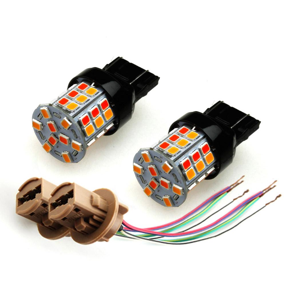 LEDバルブ ウインカー ウィンカー ポジション 1球2色 ツインカラー オレンジ/レッド 無極性 一球二色 T20/7443 45連SMD(24+21) LEDダブル球 橙/赤 ダブルソケット付き 2個