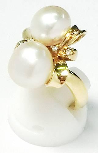 【菊地質店】【中古】K18 真珠 ダイヤモンド0.07ct 指輪 9号【送料無料】【質屋出店】【smtb-TK】<15-8>