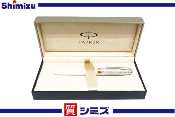 【PARKER】パーカー ソネット 万年筆 メタル&パール 18K 極美品 【中古】