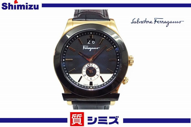 【Ferragamo】サルヴァトーレフェラガモ 美品 デュアルタイム F62 クオーツ腕時計 【中古】