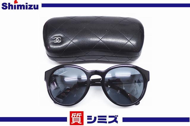 【CHANEL】美品 シャネル ココマーク サングラス 5359-A ブラック ケース付【中古】