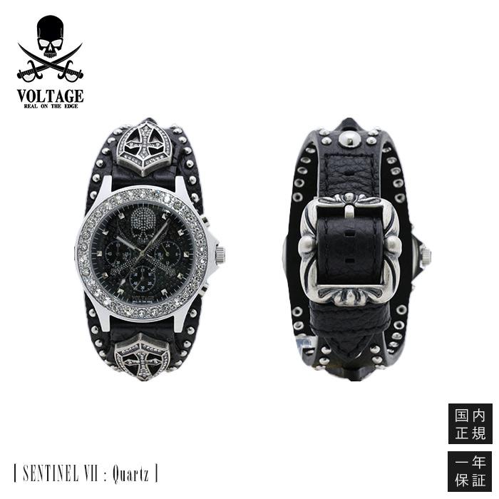 VOLTAGE ボルテージ SENTINEL 7 センティネル スカル スワロフスキークリスタル クロノグラフ ウォッチ / 腕時計 / スカル / ドクロ / ガイコツ / ロック / バイカー