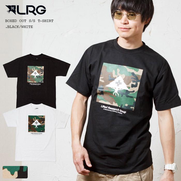 Tシャツ 半袖Tシャツ LRG エルアールジー 男女兼用 カモフラ柄 ボックスロゴプリント 半袖 ブラック ホワイト WHITE OUT A201012 BOXED BLACK T-SHIRT S TEE 公式