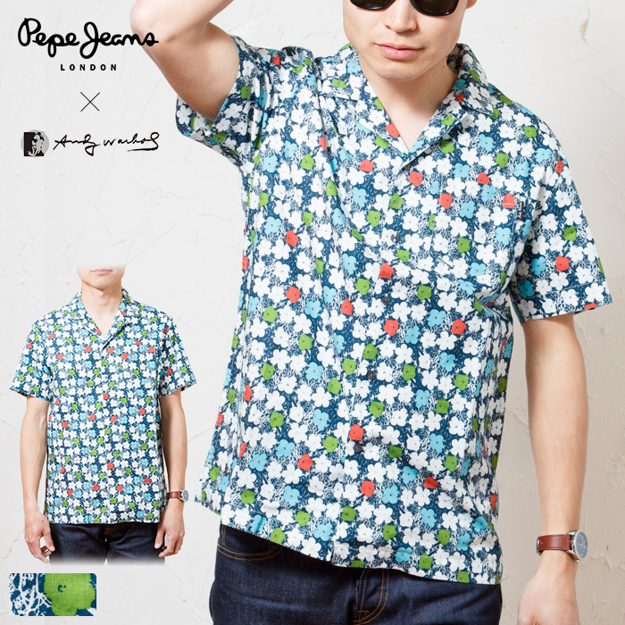 2ed528d28af PEPE JEANS LONDON Pepe jeans London Andy Warhol-limited collaboration  flower whole pattern open collar aloha short sleeves shirt / ANDY WARHOL  MEN'S ...