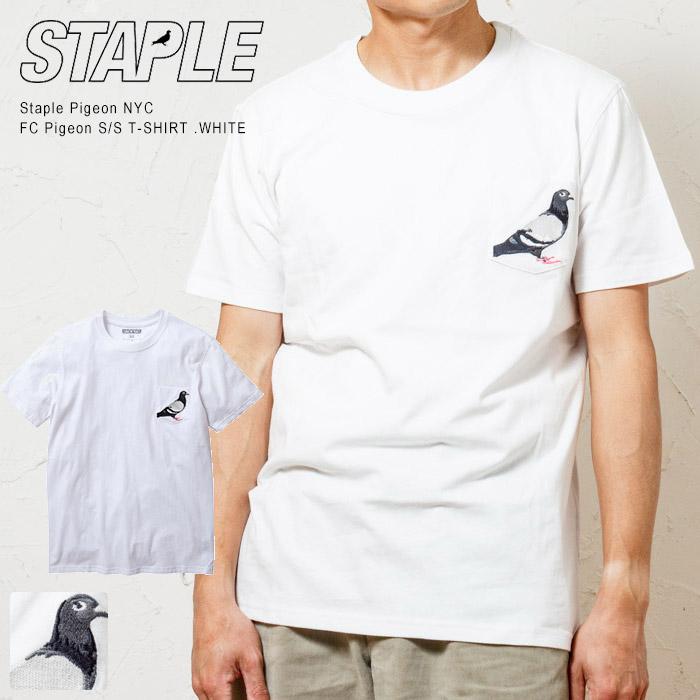STAPLE PIGEON NYC ステイプル ピジョン 刺繍ポケット Tシャツ左胸のポケットに刺繍されたピジョンが印象的なべーシックポケT WHITE FC 最大2000円OFFクーポン配布中 お求めやすく価格改定 Tシャツ POCKET TEE 大幅値下げランキング