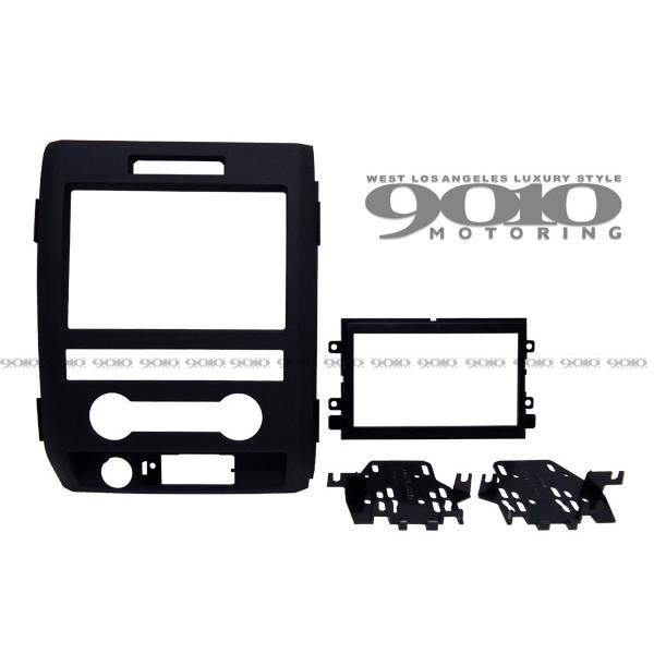 09-14y フォード F150 オーディオ取り付け 固定マウント ブラケット & フェイスパネル 2DIN 艶消しブラック