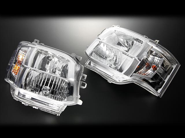 CRS 3型フェイスチェンジタイプDEPO製クリスタルヘッドライト■クロームシーアールエスESSEX エセックス200系1型2型用ハイエースレジアスエース