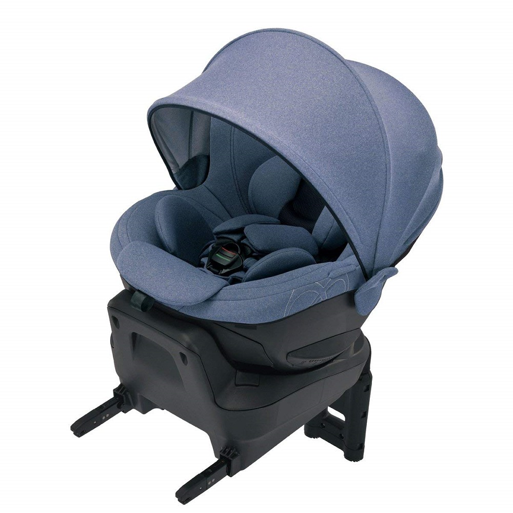 エールベベ 回転型チャイルドシート クルット4i プレミアム ナチュラルブルー BF867【ISOFIX取付】 新生児から4歳用 『日本製・安心トリプル保証付』