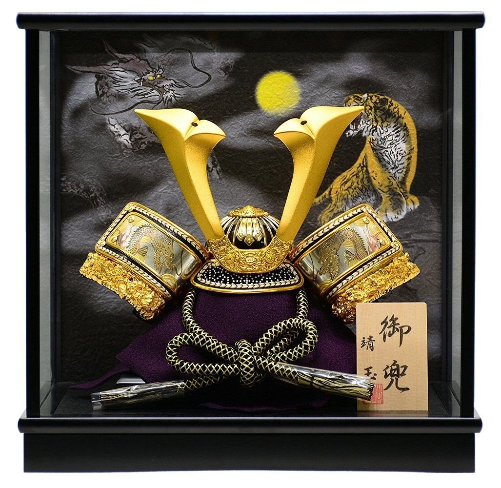 五月人形 天豪兜 8号 金 【ケース飾り】【コンパクト】【楽ギフ_のし】【smtb-KD】
