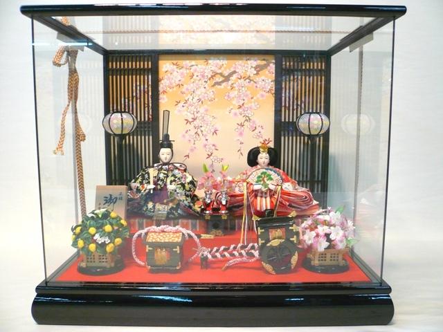 【特選】 ケース飾り 小三五二人 美咲 正絹 ひな人形 雛人形 【smtb-KD】