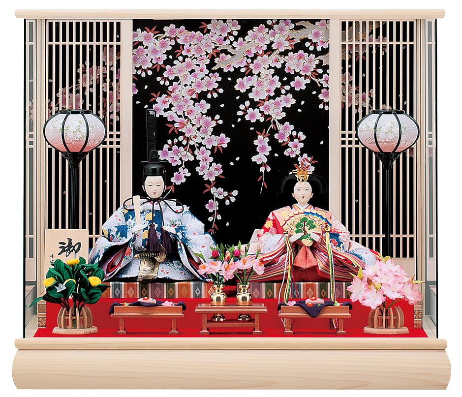 【特選】 ケース飾り 小三五二人 美咲 パノラマケース ひな人形 雛人形 親王飾り 【smtb-KD】
