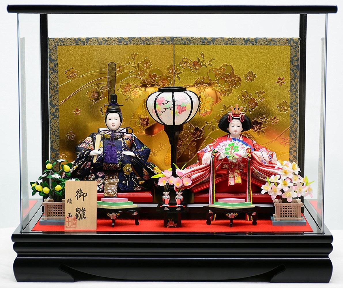 【特選】 雛人形 ケース飾り 永寿 2曲屏風 アクリスケース コンパクト親王飾り 【smtb-KD】