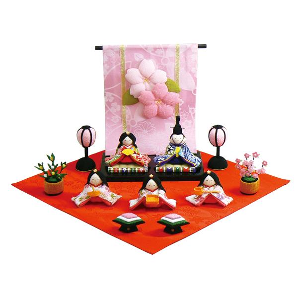 リュウコドウ 花几帳わらべ雛5人揃い 雛人形 ひな人形 親王飾り 平飾り 1-657
