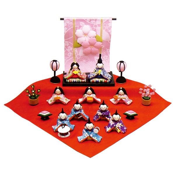 リュウコドウ 花几帳わらべ雛10人揃い 雛人形 ひな人形 親王飾り 平飾り 1-658