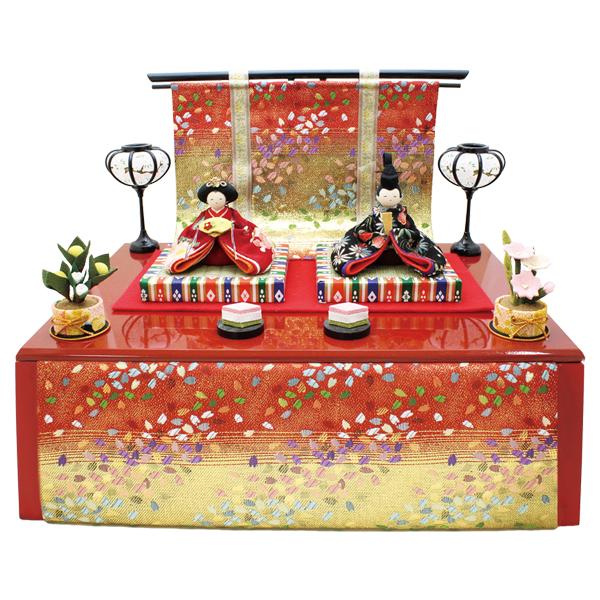 リュウコドウ 友禅収納飾り雛 雛人形 ひな人形 親王飾り 平飾り 1-718