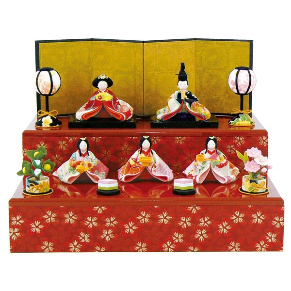 リュウコドウ 収納飾り 彩り友禅雛 5人揃い 雛人形 ひな人形 親王飾り 平飾り 1-622