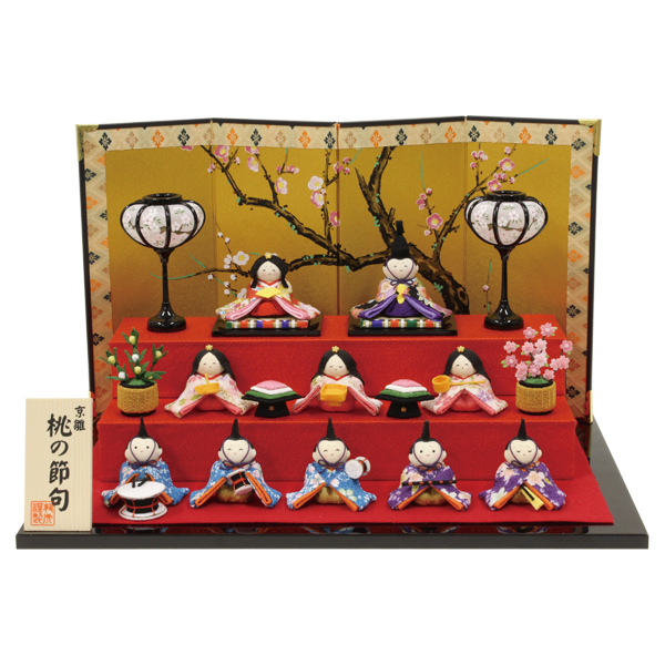 リュウコドウ すこやかわらべ雛10人揃い 雛人形 ひな人形 親王飾り 平飾り 1-770