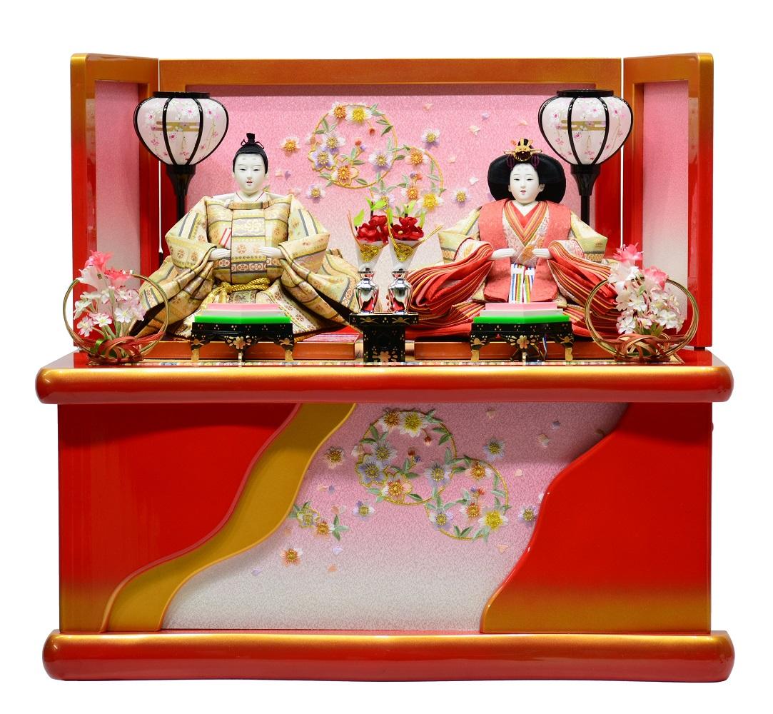 雛人形 収納親王飾り 刺繍朱色収納箱 〔間口60cm×奥行43cm×高さ54cm〕【収納飾り】