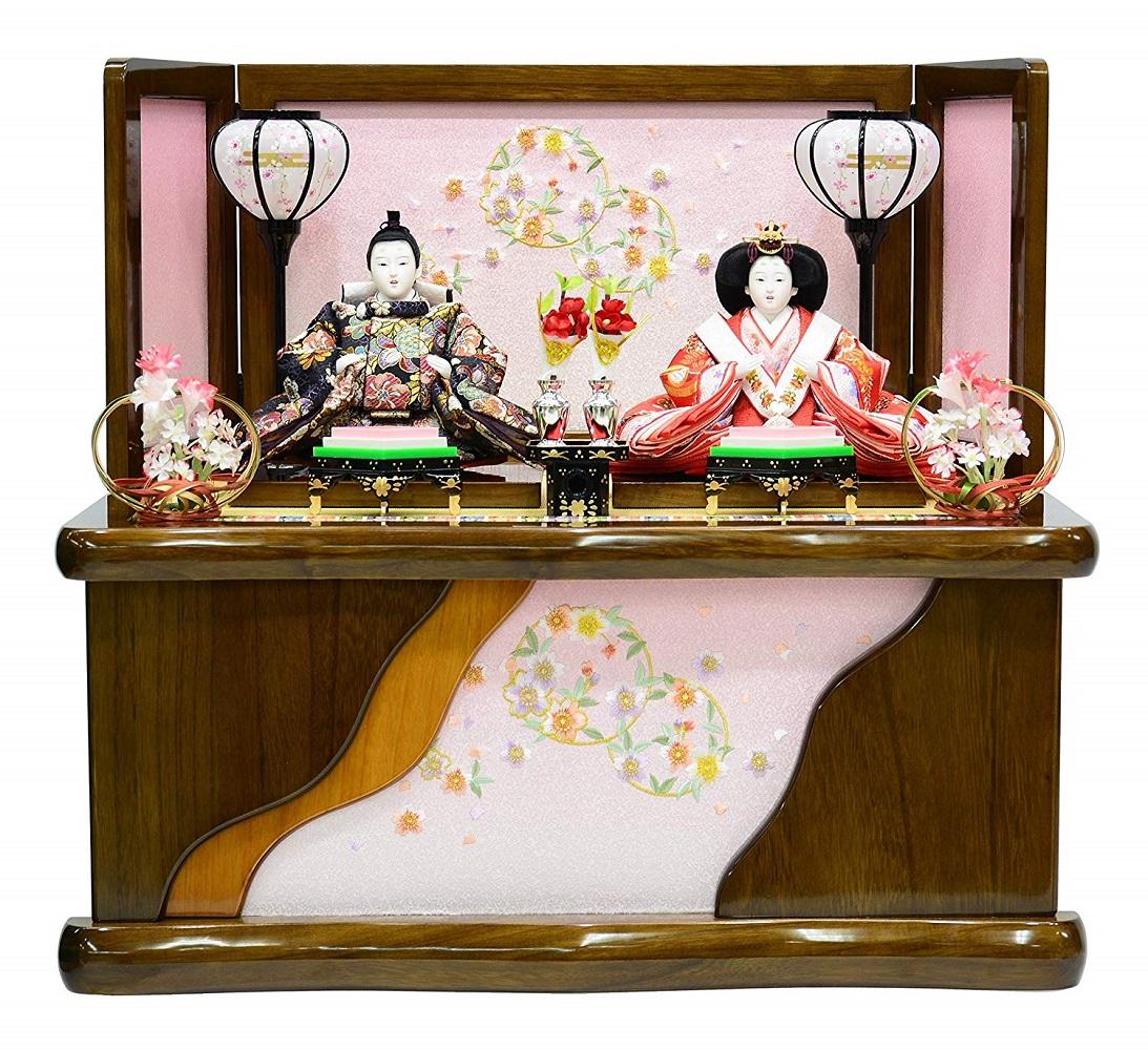 雛人形 収納親王飾り 刺繍木目収納箱 〔間口60cm×奥行43cm×高さ54cm〕【収納飾り】
