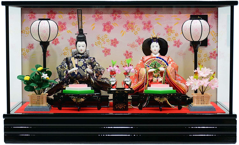秀山 雛人形 ひな人形 ケース飾り 三五親王 紅桜 オルゴール付 親王飾り [間口60cm]