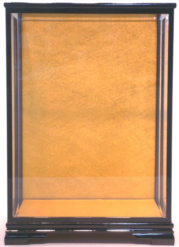 【13号用】 市松ケース 黒塗足付面取ガラス 市松人形用ケース 【smtb-KD】