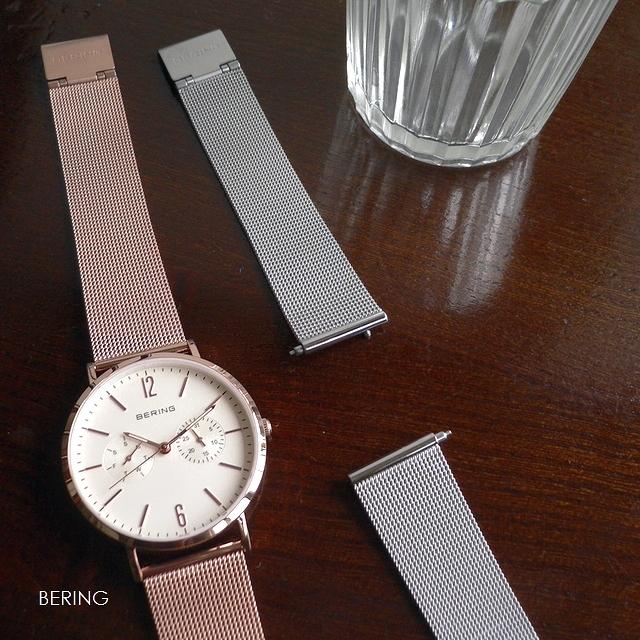 ノベルティプレゼント BERING ベーリング メッシュバンド 2本セット 腕時計 Changes 14236-364 ホワイト/ローズゴールド/シルバー
