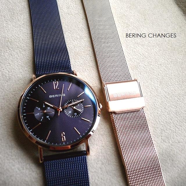 ノベルティプレゼント BERING ベーリング メッシュバンド 2本セット 腕時計 Changes 14236-397 ネイビー/ローズゴールド