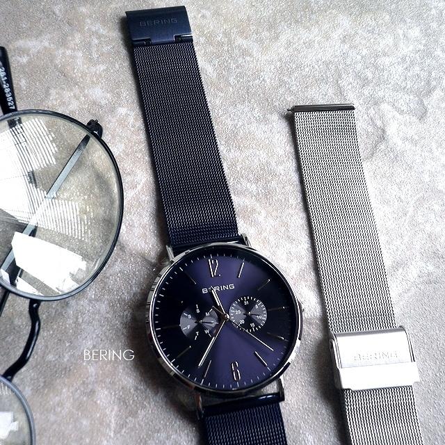 BERING ベーリング メッシュバンド 2本セット 腕時計 Changes 14240-307 ネイビー/シルバー
