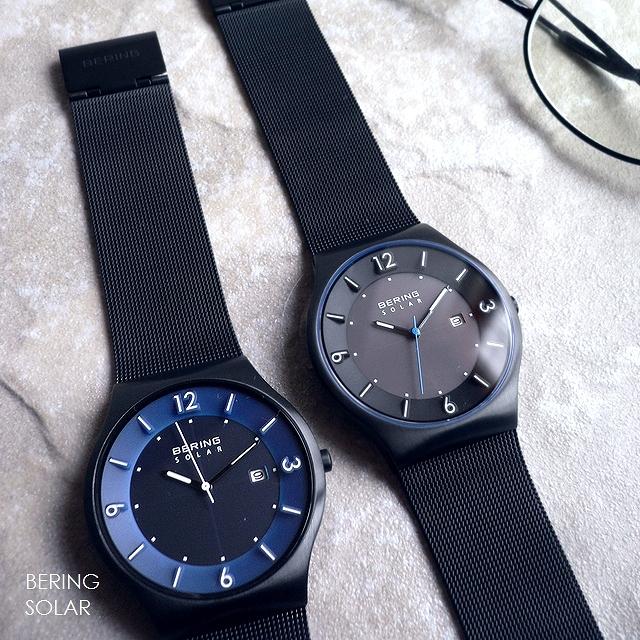 BERING ベーリング メタルバンド ソーラー 腕時計 Solar 14440-227 228 ブルー/ブラック