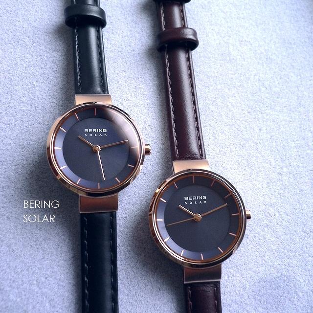 ノベルティプレゼント BERING ベーリング レザーバンド ソーラー 腕時計 Scandinavian Solar 14627-467 567 ブラウン/ブラック/ネイビー/ピンクゴールド