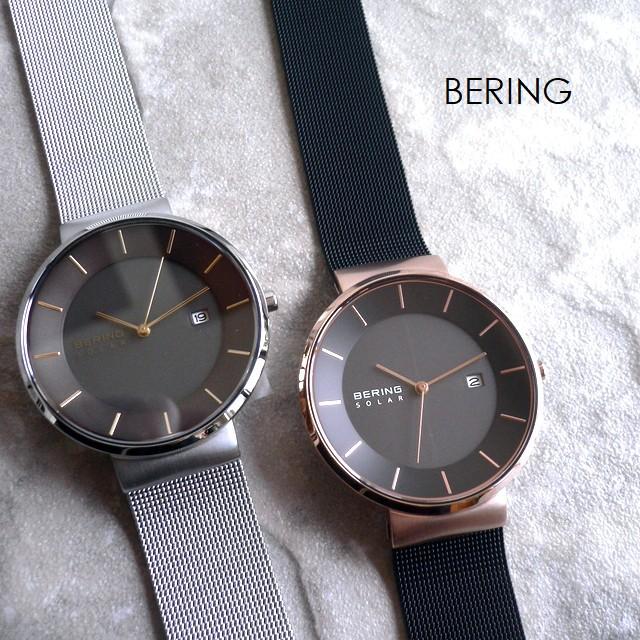 BERING ベーリング メタルバンド ソーラー 腕時計 Scandinavian Solar 14639-166 ブラック/ローズゴールド/ピンクゴールド
