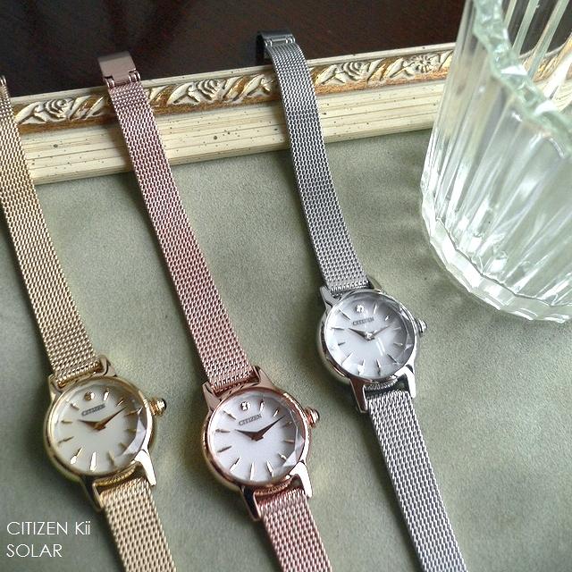 ノベルティプレゼント CITIZEN シチズン Kii キー メタルバンド ソーラー アンティークデザイン 腕時計 EG2990 EG2992 EG2993 シルバー/ピンクゴールド/ゴールド